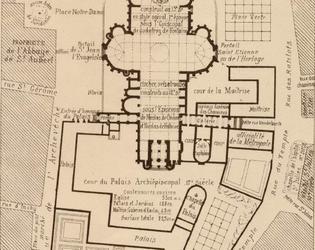 Plan de l'ancien quartier-cathédrale de Cambrai