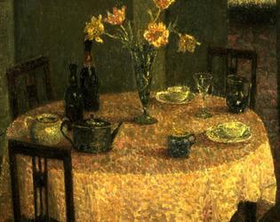 Henri Le Sidaner, Interieur a la nappe rose, 1930, huile sur toile, 92 x 71 cm, Musée de Cambrai, Inv. P. 184