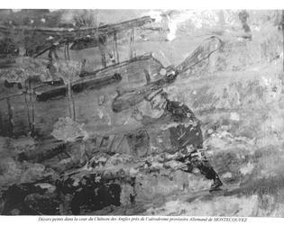 Décors peints dans la cour château des Angles près de l'aérodrome provisoire Allemand de Montécouvez