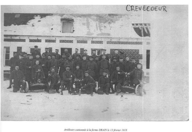 Artilleurs allemands cantonnés à la ferme Drain le 13 février 1918