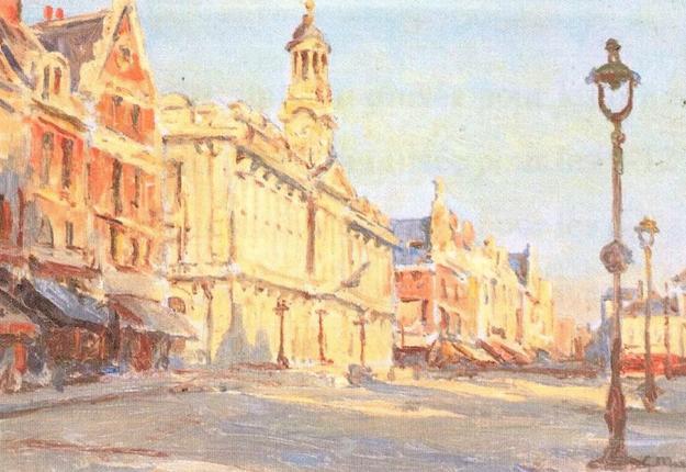 Place d'armes, soleil couchant, hôtel de ville